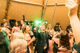 wedding guest with crutches