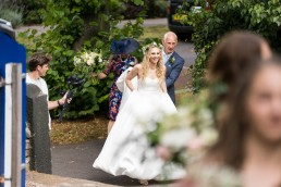 bride arriving for her wedding in woodseats, sheffield