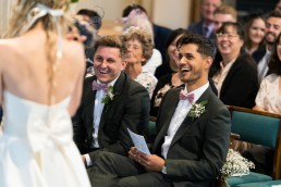 laughter at a wedding