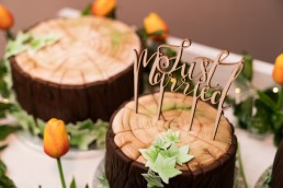 wood log wedding cakes with Just Married cake topper