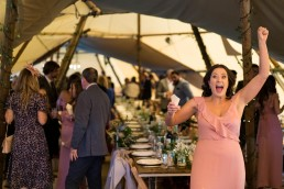 cheering bridesmaid