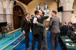 wedding guest hug